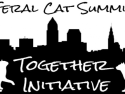 A picture two cats in front of a city skyline with the words, Feral Cat Summit - Together Initiative
